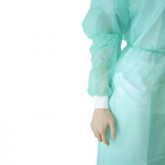 Bata isolamento PP+PE, punho tecido, verde, tam. L